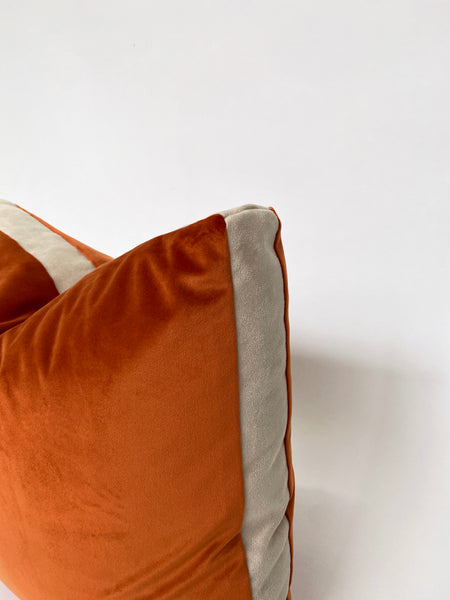 CUSHION COVER - RUST VELVET WITH SUEDE BOXED EDGE