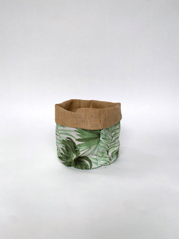 REVERSIBLE FABRIC BASKET - PALMS