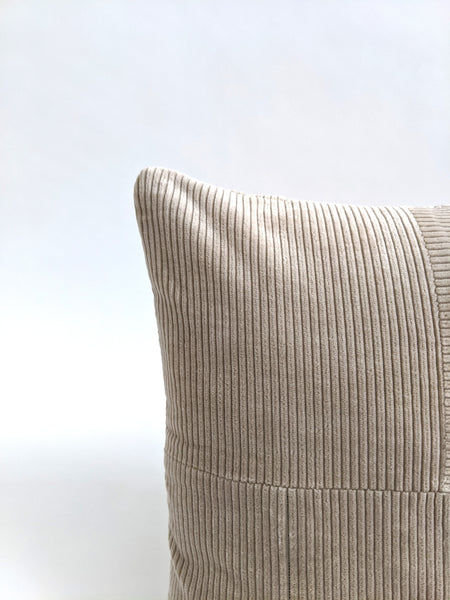 CUSHION COVER - CREAM CORDUROY PATCHWORK VELVET