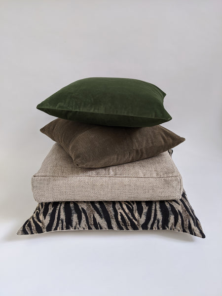 CUSHION COVER - KHAKI PATCHWORK VELVET CORDUROY