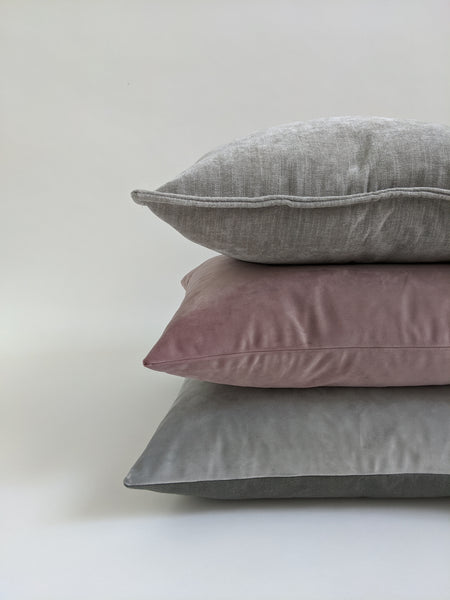 CUSHION COVER - GREY WOVEN VELVET