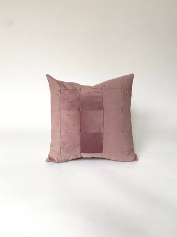CUSHION COVER - PATCHWORK DUSKY PINK VELVET