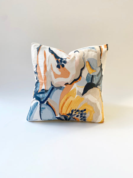 BOXED EDGE CUSHION COVER - ABSTRACT FLORAL & IVORY VELVET