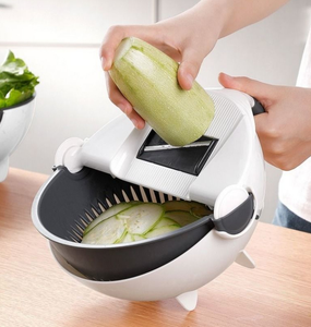 VEGETABLE AND FRUIT CUTTER WITH DRAIN BASKET