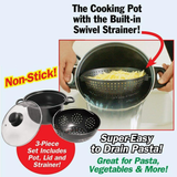 Non-stick Cooking Pot with Built-In Strainer
