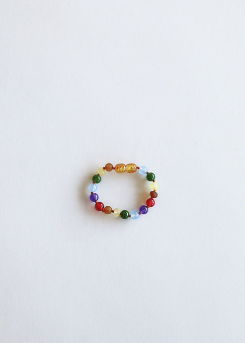 Raw Amber + Gemstone Rainbow || Anklet