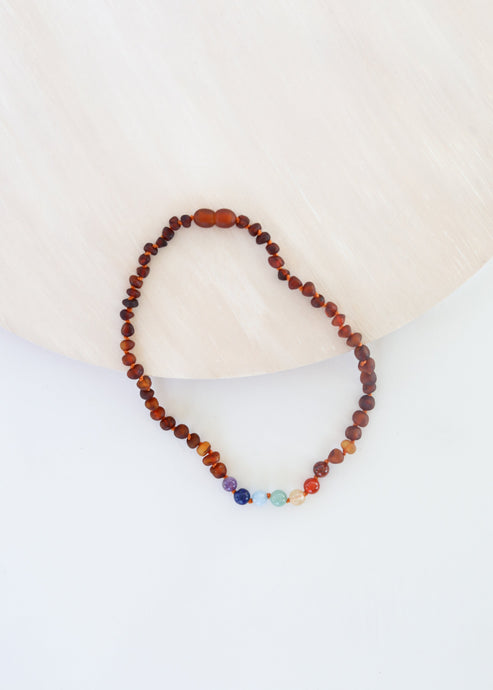 Raw Cognac Amber + CHAKRA Crystals || Necklace