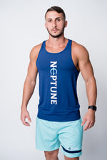 Mens blue neptune athletics tank top with neptune logo center and vertical