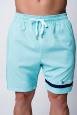 Mens neptune athletics seafoam green shorts with neptune logo and stripe on front left short