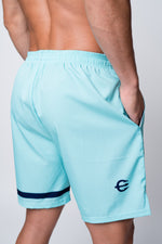 Mens neptune athletics seafoam green shorts with pocket view