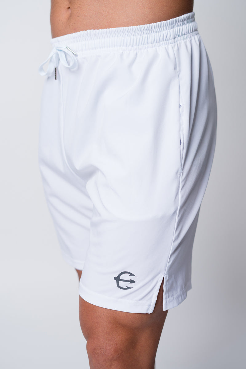 Mens white neptune athletics shorts with trident on front left leg