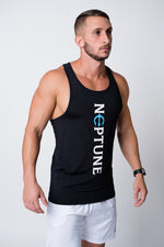Mens black neptune athletics tank top with neptune logo center and vertical