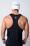 Mens black neptune athletics tank top with light blue trident on back racerback