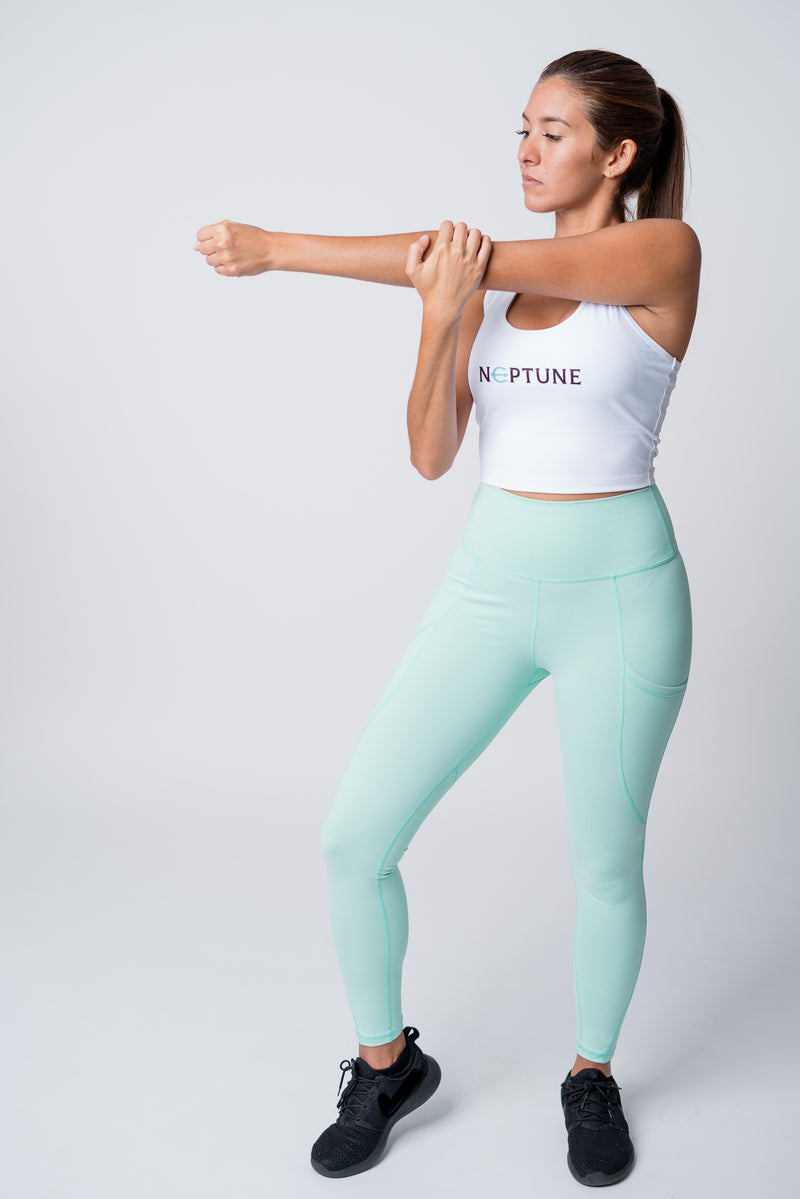 Mint neptune athletics leggings and white crop top