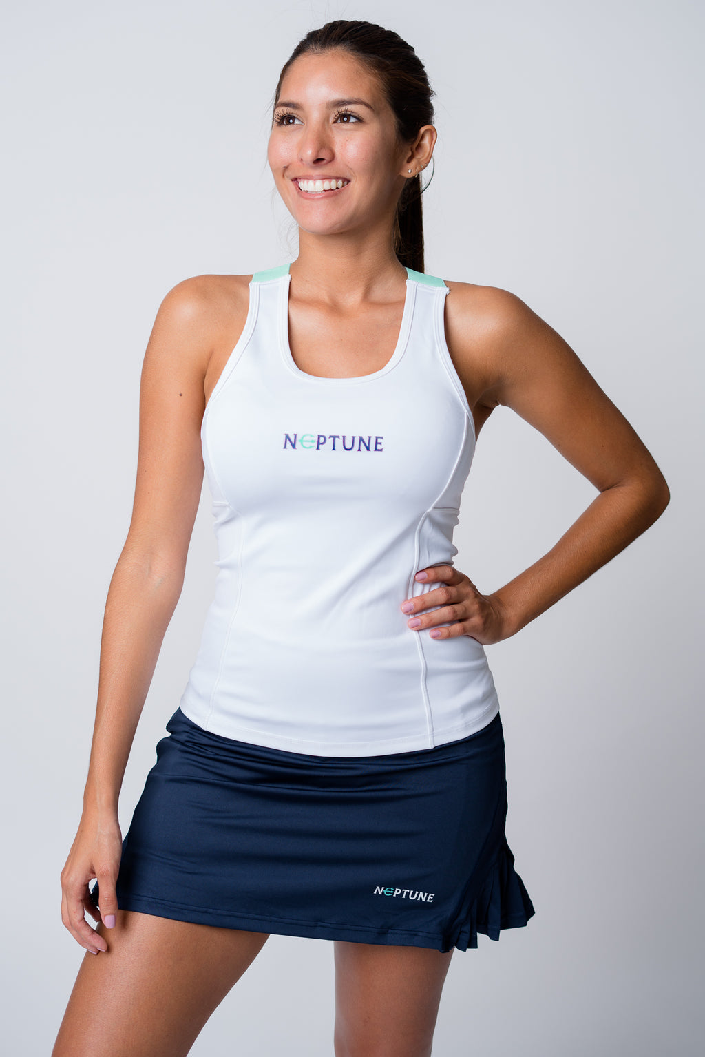 Neptune athletics white tank top with neptune logo on front chest