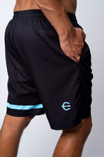 Neptune athletics mens black shorts back with trident