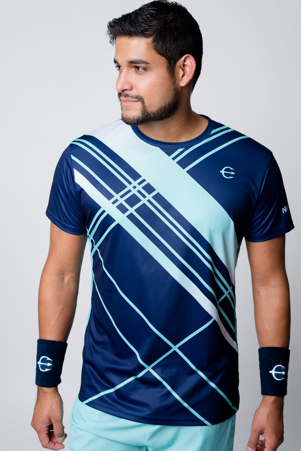 Navy with mint and white stripes neptune athletics competition tee