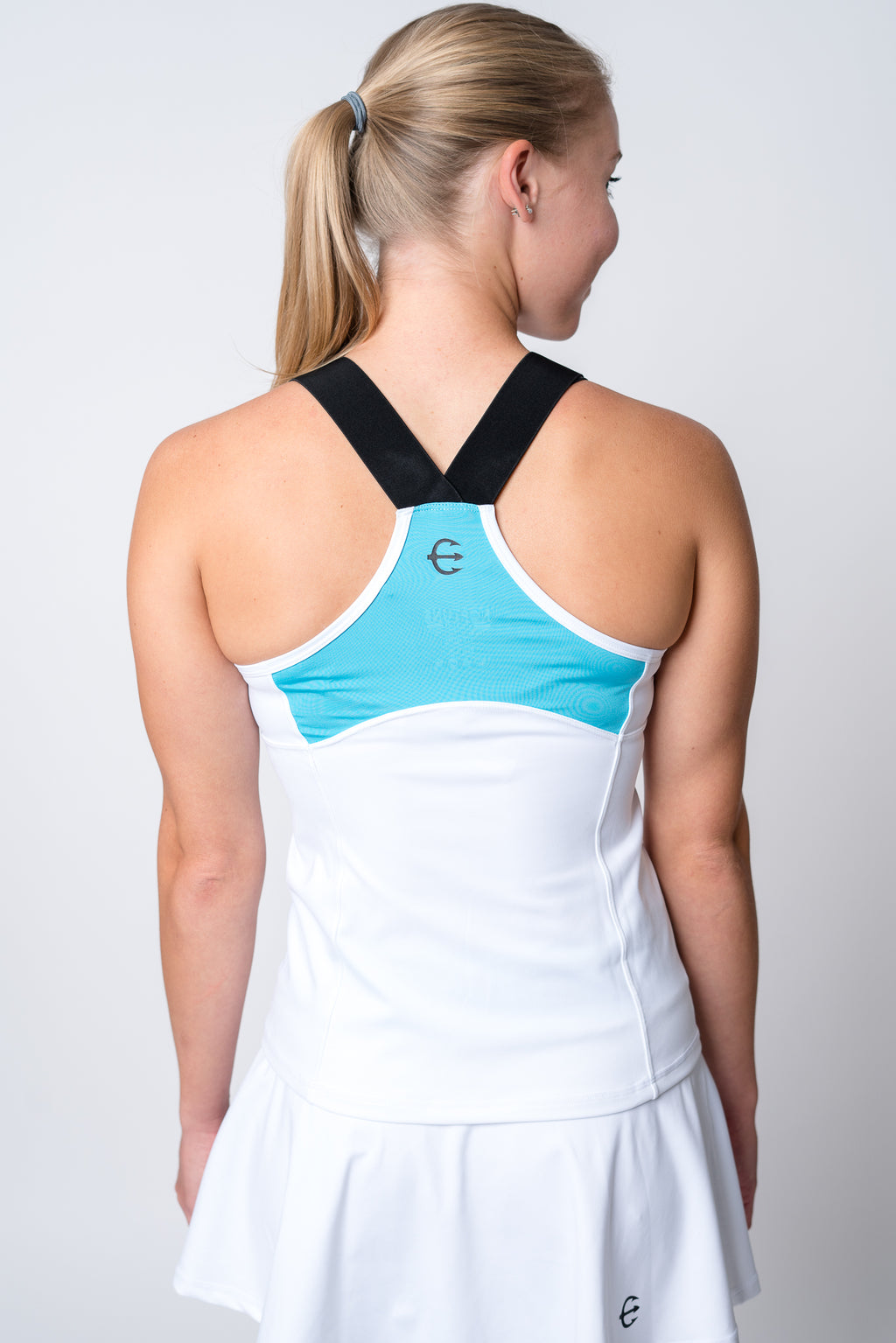 Neptune athletics white tank top with light blue color block on back with black trident and black elastic straps