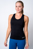 Womens neptune athletics black tank top with neptune logo on bottom left corner