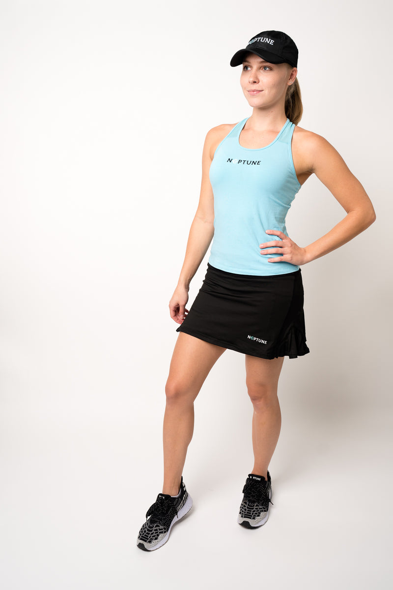 Black neptune athletics tennis skirt and blue tank top