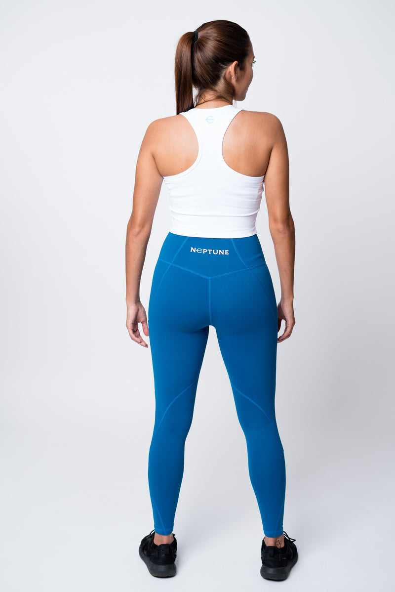 Blue neptune athletics leggings and white crop top