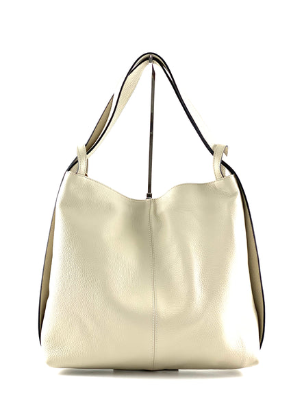 An image of the Samona shoulder bag/backpack in cream soft Italian leather.