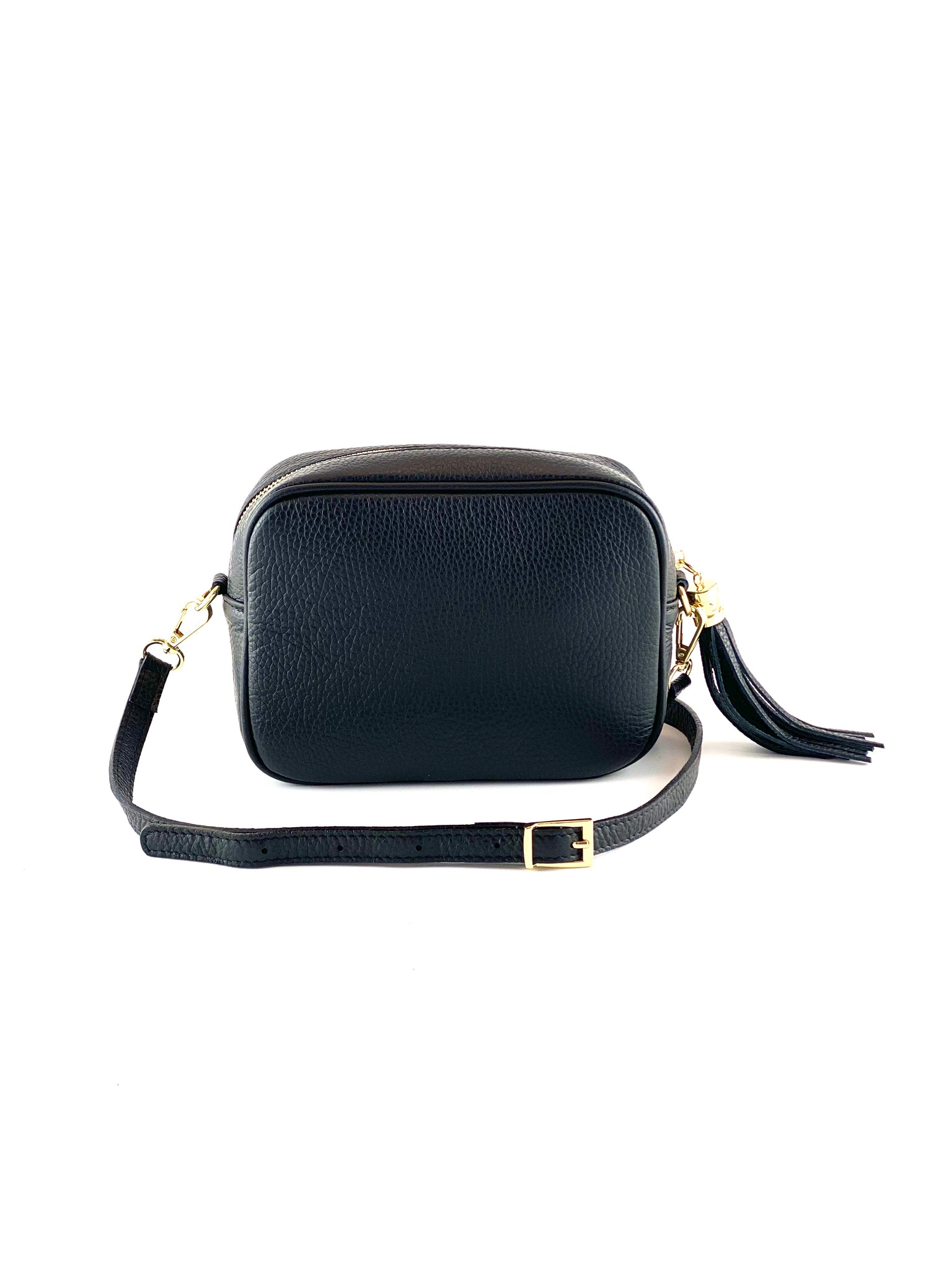 An image of a small black leather messenger bag with a leather tassel on the zip which opens across the top of the bag.