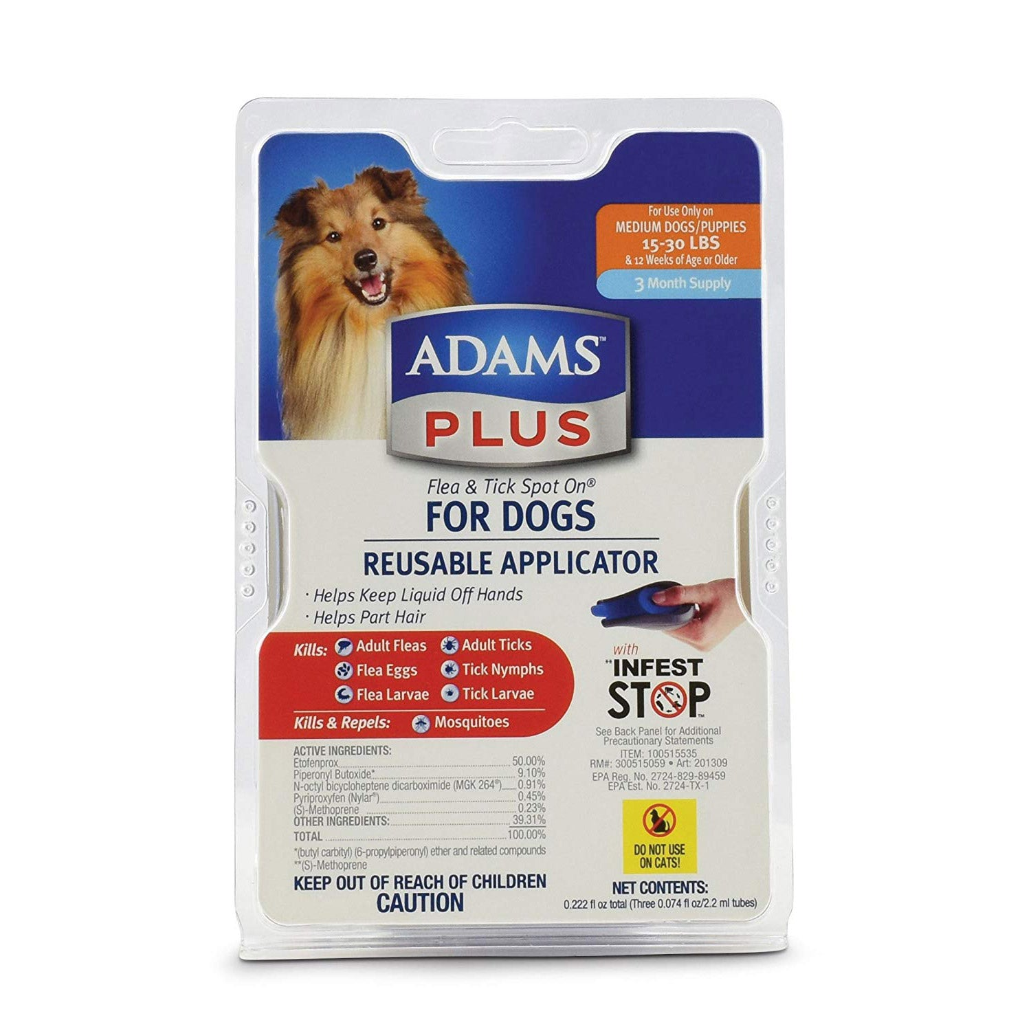 Flea and Tick Spot on Dog Medium 3 Month Supply