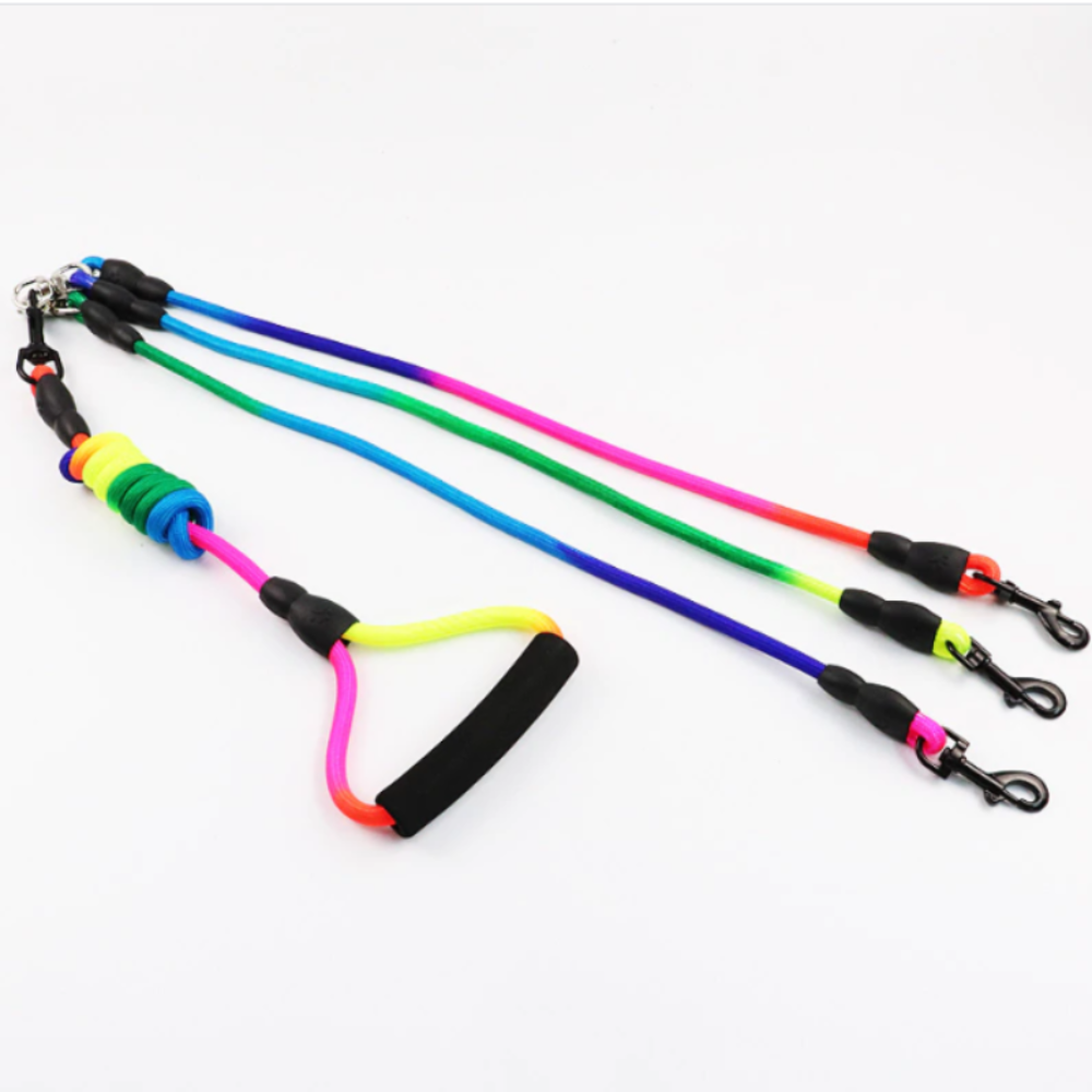Rainbow Detachable Triple Leash with Foam Handle
