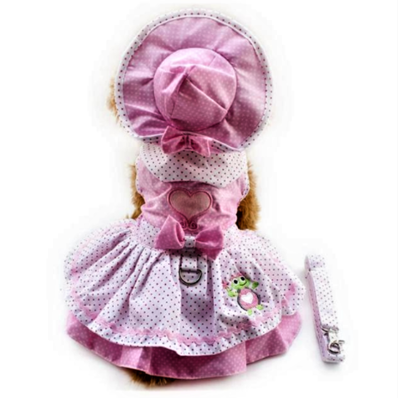 Pink Princess Dog Dress with Leash Set