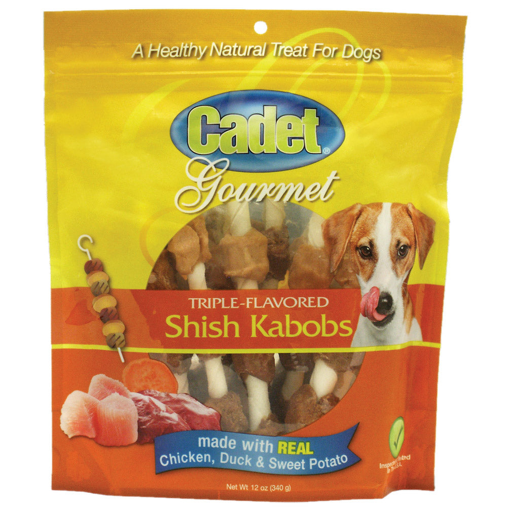 Gourmet Rawhide Shish Kabob Triple Flavor Treats Chicken, Duck and Sweet Potato 12 ounces