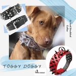 Load image into Gallery viewer, A dog wearing a Toggy Doggy Gray Leather Spike Studded Collar