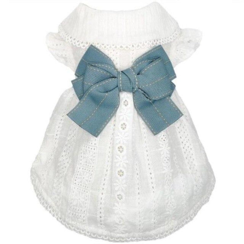 Big Blue Bow On Eyelet Pattern Dog Dress