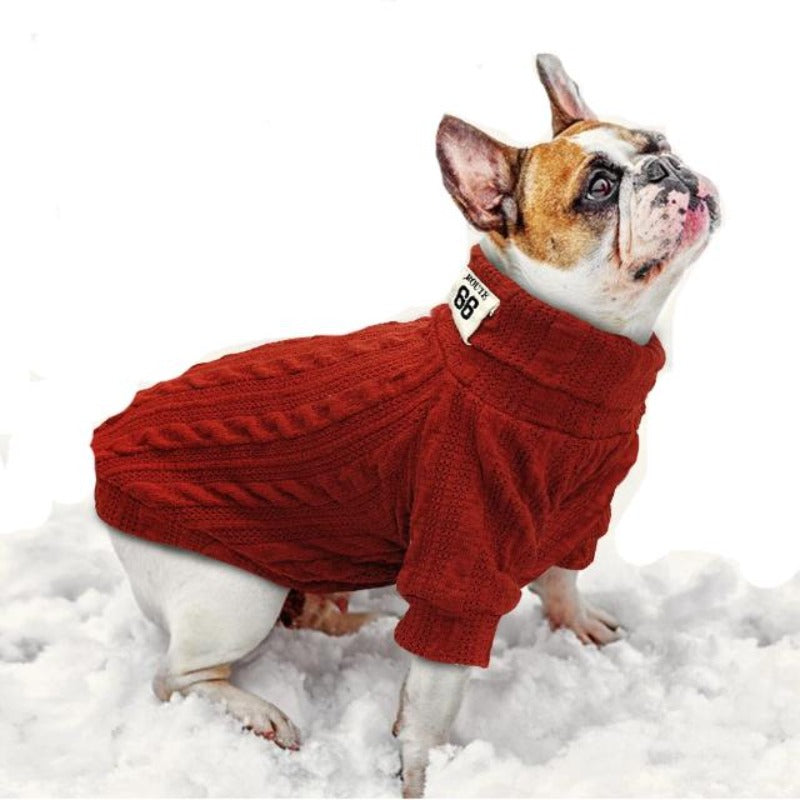A dog wearing a Red Classic Knit Warm Sweater