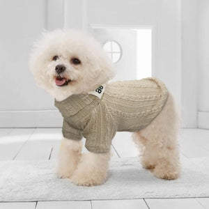 Beige Classic Knit Dog Sweater