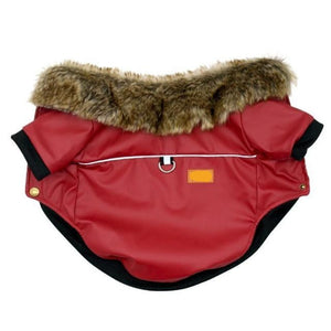 Fur Collared Red Leather Dog Jacket