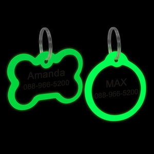 Personalized Engraved Glowing Stainless Steel Dog Tags