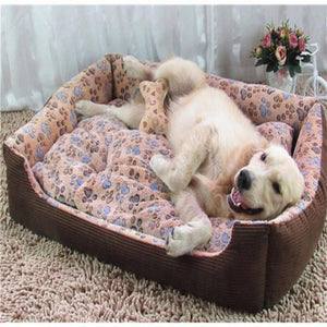 A Dog Laying on A Coffee Colored Fleece Doggy Bed