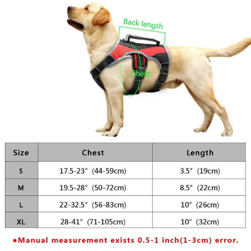 Reflective Training Dog Vest Harness, Red & Gray, S-XL