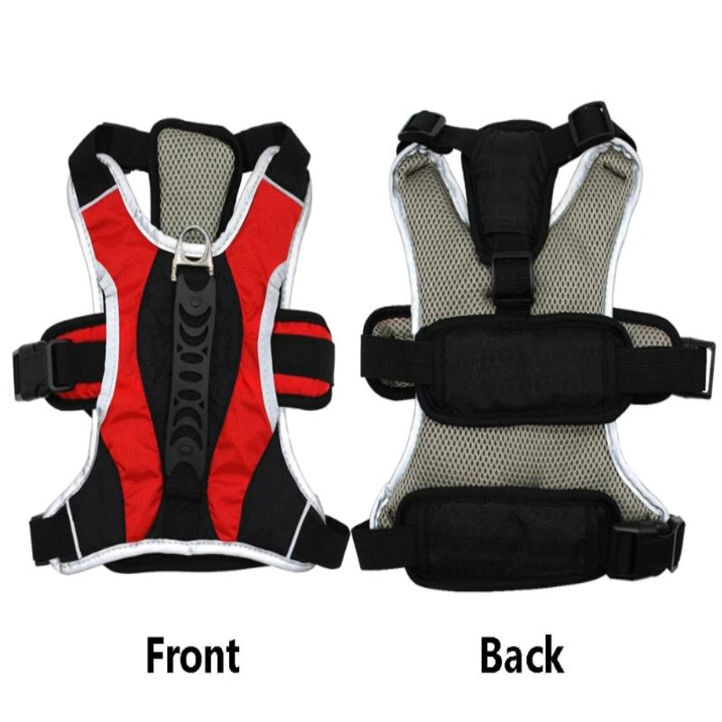 The Red Reflective Training Dog Vest Harness Showing Its Front and Back