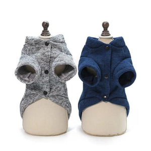 Gray & Blue Fishbone Dog Jacket