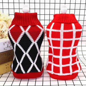 Checkered Red and White Diamond Dog Sweater and Red, White and Black Diamond Dog Sweater