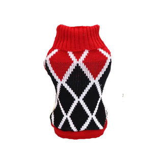 Red, White and Black Diamond Dog Sweater