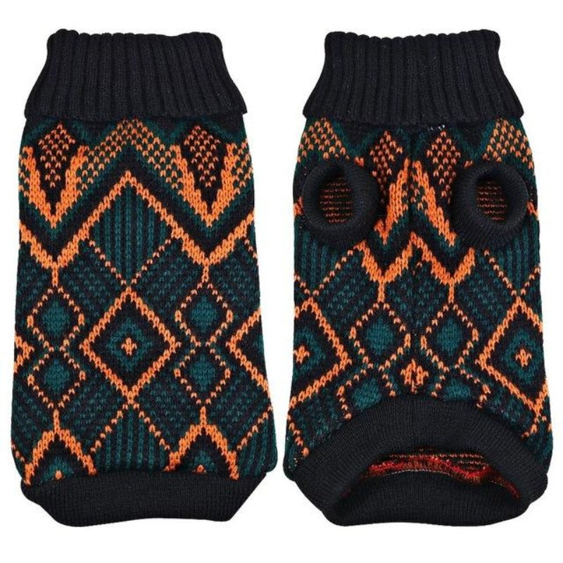 Stretchy dog sweater that has a pretty patterned design of bluish-black and orange alternately.