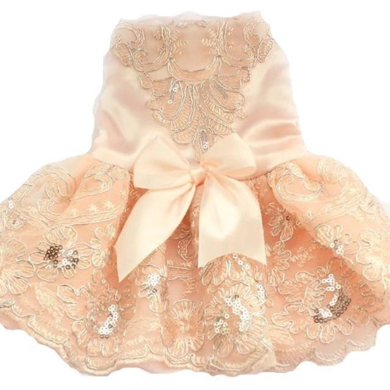 Pink Embroidered Lace Dog Dress