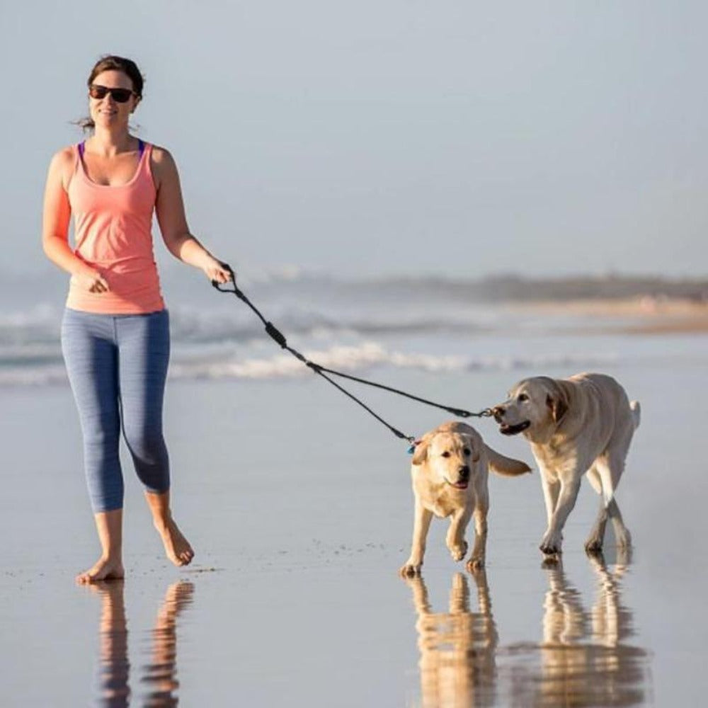 A Woman Walking With 2 Dogs On A Black Detachable Triple Leash with Foam Handle On The Beach