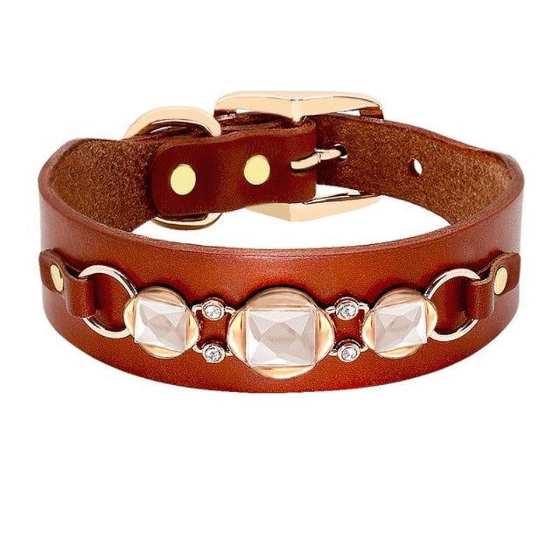 Leather Rhinestone Dog Collar Jeweled with Rhinestones