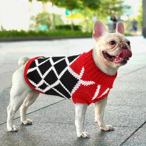 A Dog Wearing A Red/Black Diamond Dog Sweater