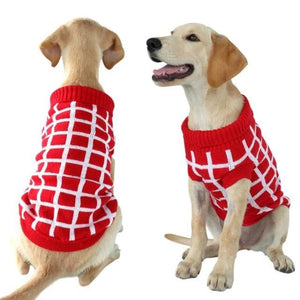 A Dog Wearing A Red/White Diamond Dog Sweater