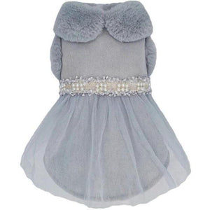 Pearl Embellished Dog Dress, Blue